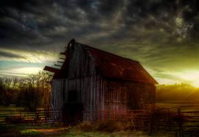 Sunset Barn HDR by joelht74