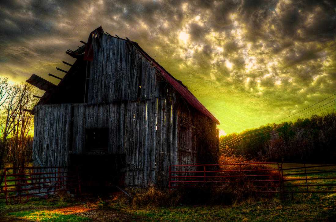 Sunset Barn II HDR by joelht74
