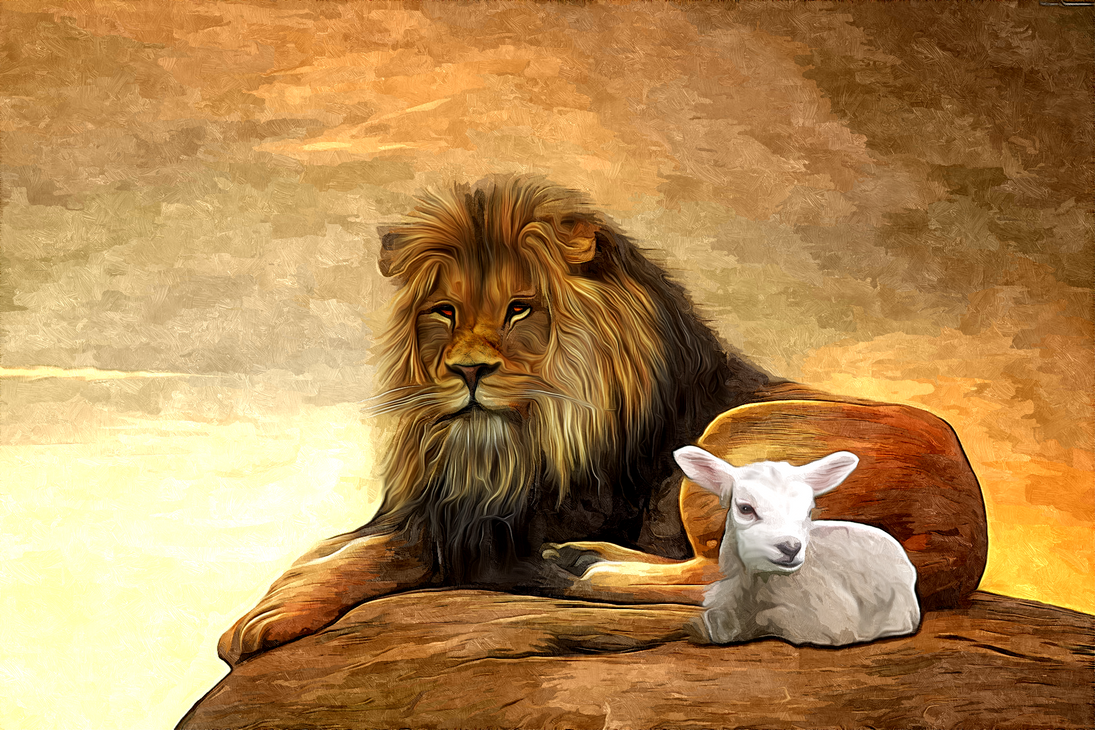 The Lion and the Lamb by PeterPawn on DeviantArt for Lion And Lamb Painting  569ane