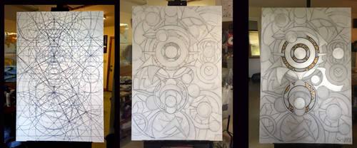 Progression of my 2328 -6 geometric painting by Sozra