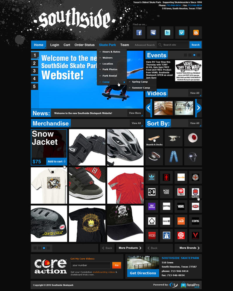 SouthSide Skate Park - Website by Axertion