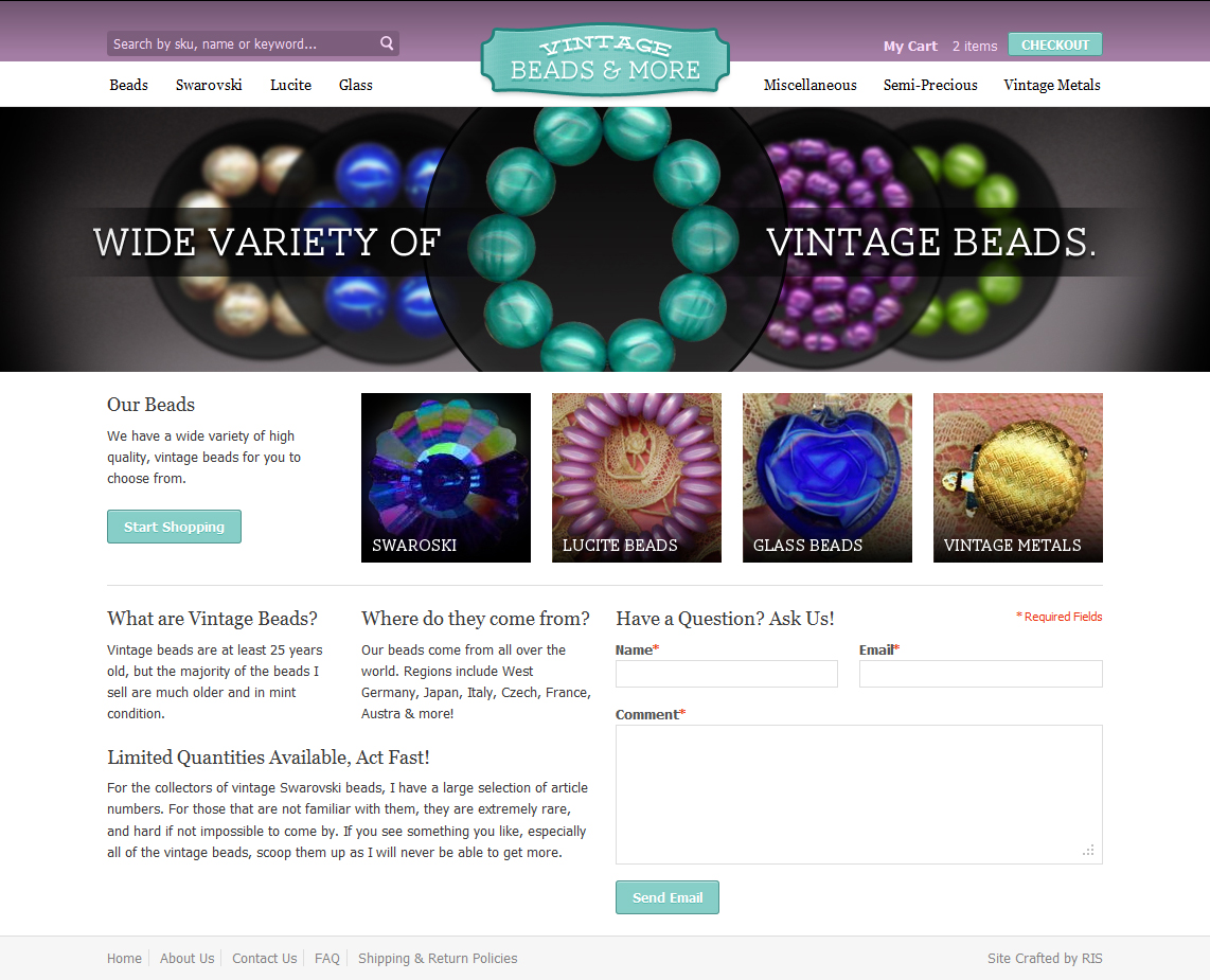 Vintage Beads And More - Magento Website by Axertion