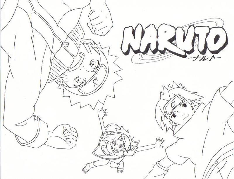 Naruto team 7 line art by fatgurl06 on deviantart for Naruto sakura coloring pages