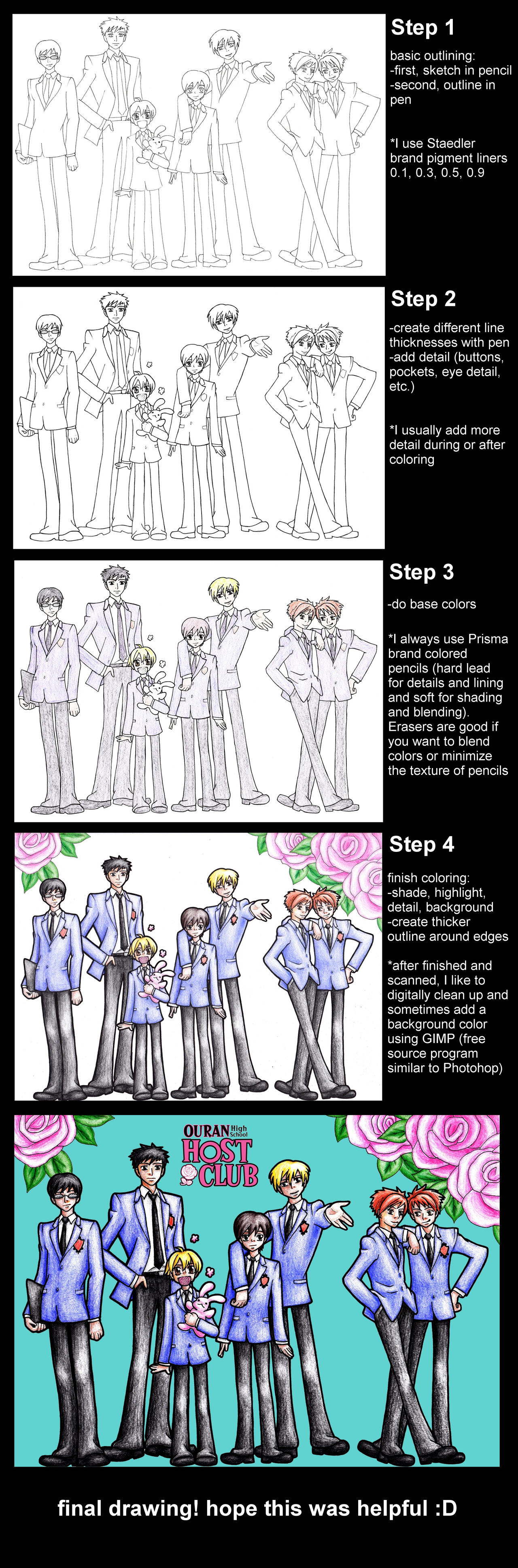 The Host Club - Step by Step Tutorial by fatgurl06