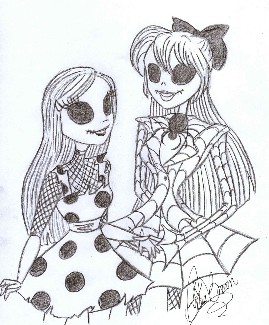 Nightmare before christmas jack coloring pages - Maria And Judy By Jackfreak1994 On Deviantart