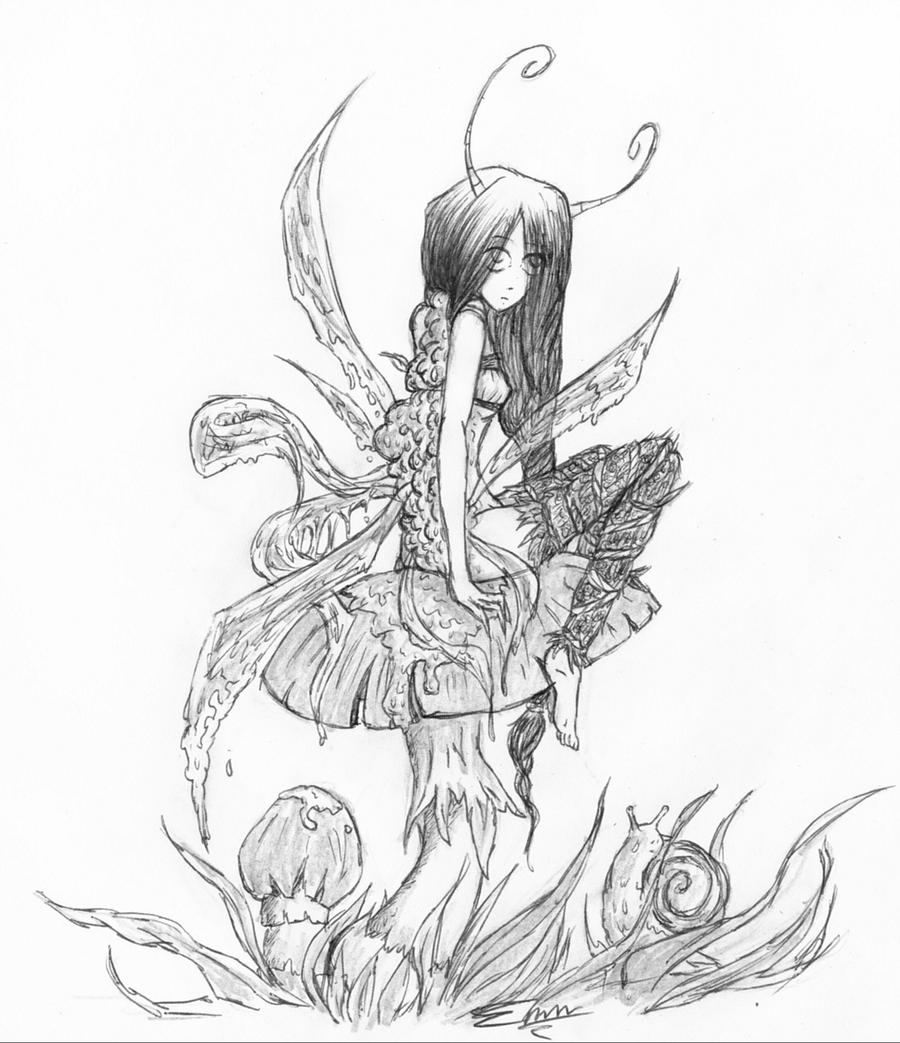 Fairy on mushroom by emm911 on deviantart for Fairy on a mushroom drawing