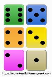 Colored dices by IconSkoulikiGraphics