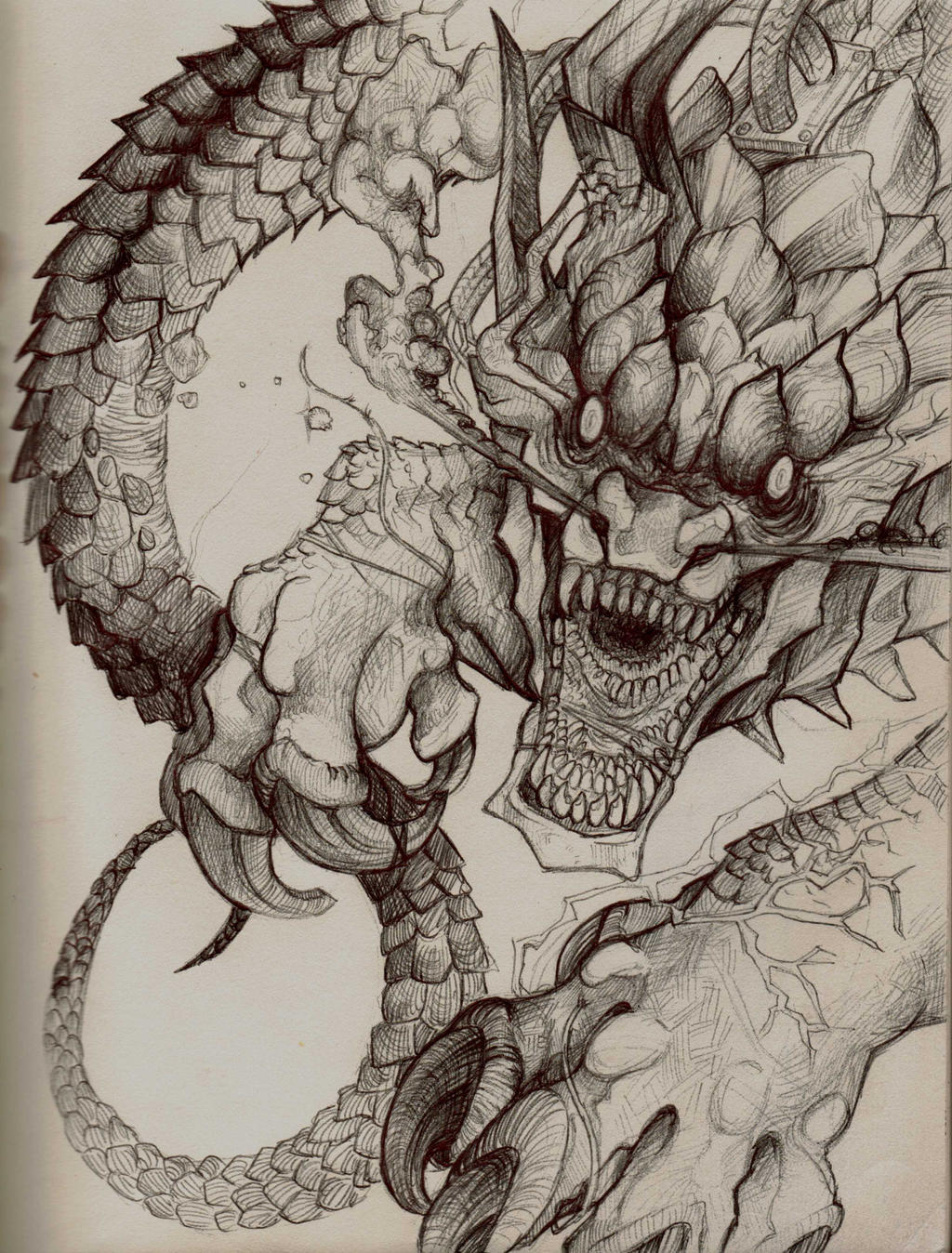 Dragon Sketch By Tokyozilla Traditional Art Drawings Fantasy 2014 2015