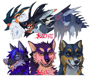 Lined and Painted headbust commissions OPEN by Tokyozilla
