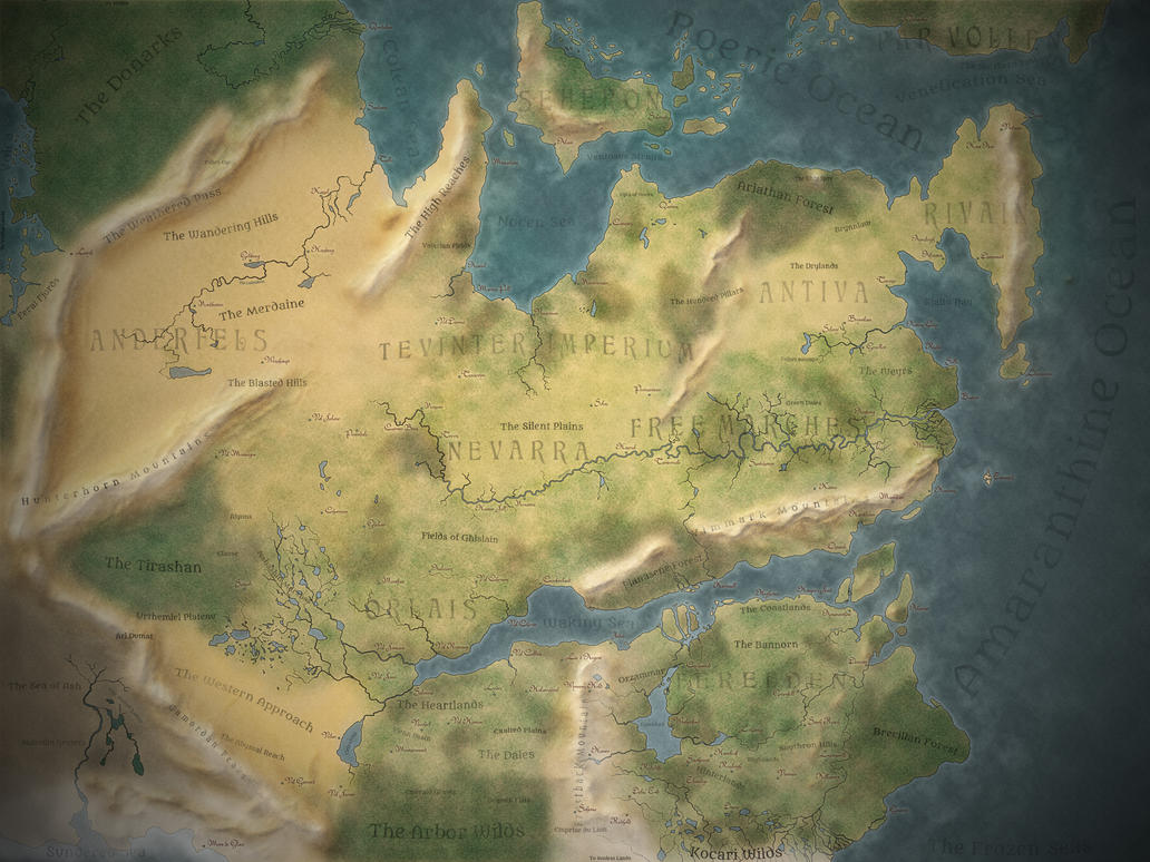 Thedas World Map [Dragon Age] by MartynasB on DeviantArt on dragon tooth, elder scrolls map, game of thrones map, one piece map, dragon quest map, farming simulator map, thedas map, tales of vesperia map, dungeons and dragons map, red dead redemption map, league of legends map, mists of pandaria map, dragon's dogma map, mass effect map, l.a. noire map, skyrim map, the witcher map, fallout map, mistborn trilogy map, here be dragons map,