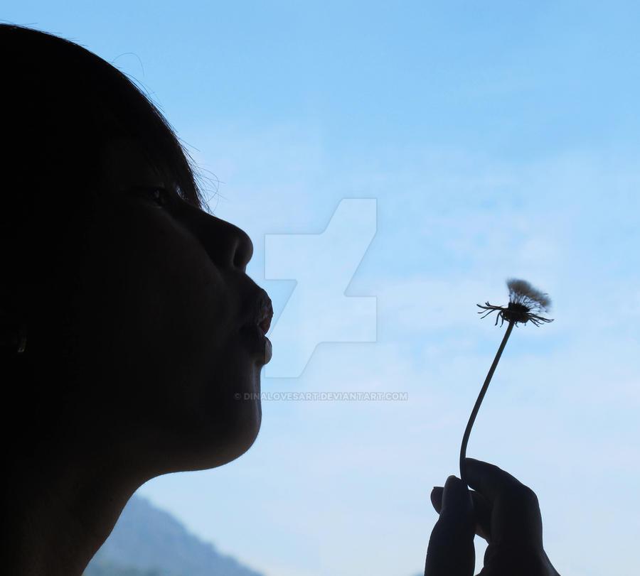 Blowing Dandelion by dinalovesart