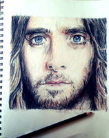 Jared Leto Color Pencil Drawing by Qtfiddler