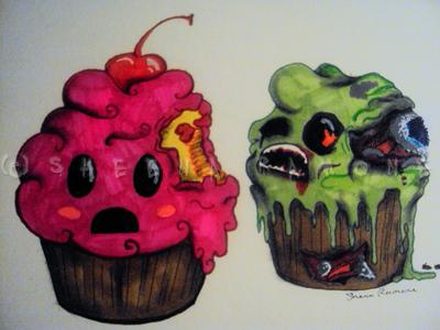 Zombie Cupcakes by ADandyWarhol