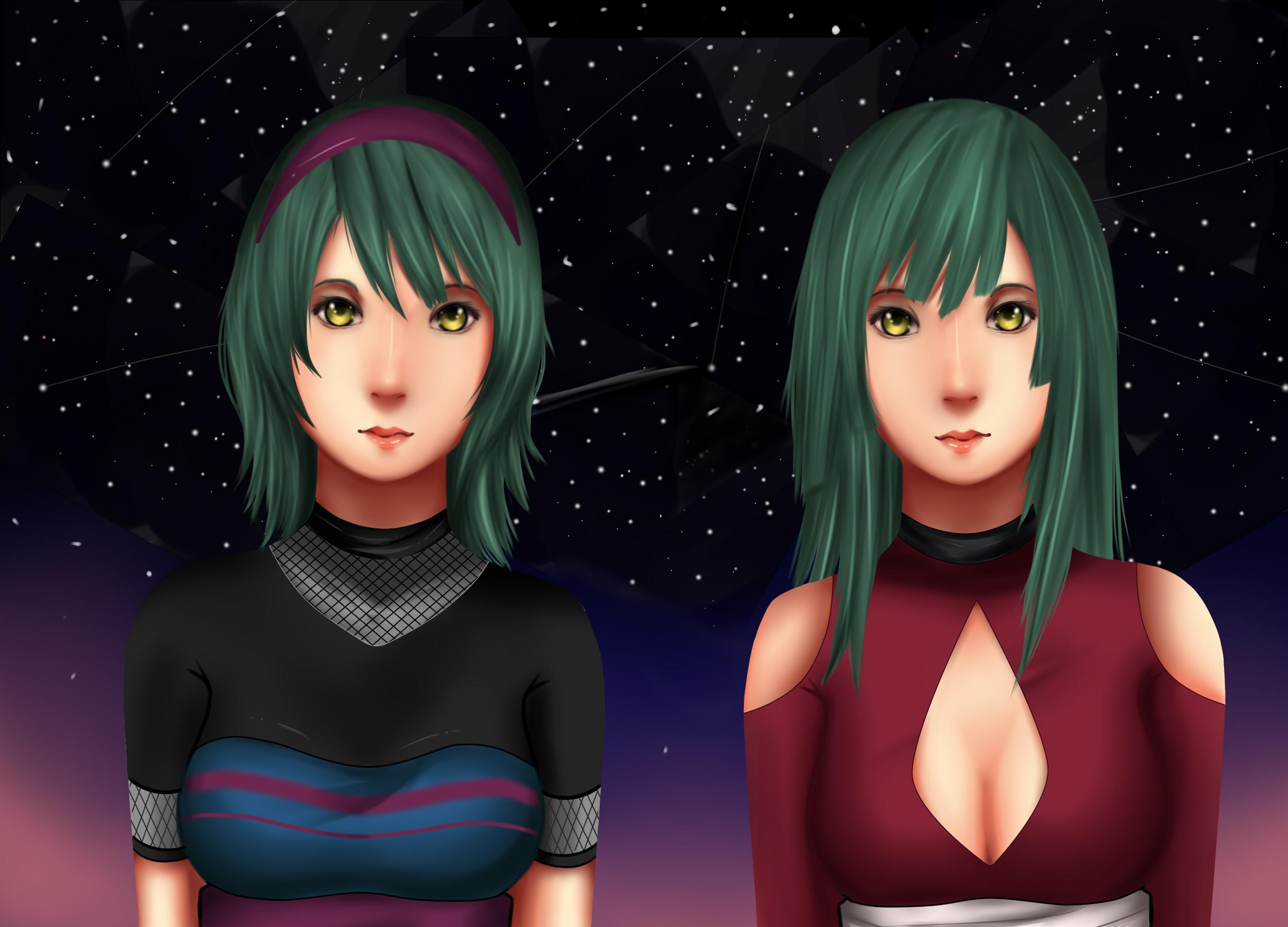 kyuuka and hanabira by xkynthiax