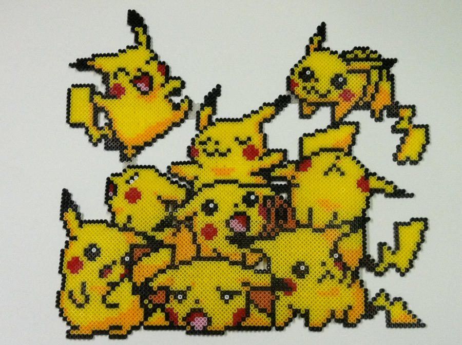An adorable pile of pikachus done in perler beads the original image