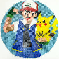 Perler Bead: Ash and Pikachu by thewiredslain
