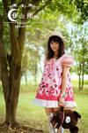 White moon pink strawberry Short lolita dress