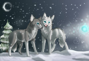 the winter ghost and wolfes by Heliina11
