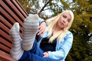 Vivi's feet in striped sneaker socks 36 HD