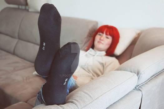 Kathleen's feet in black socks close-up 59 HD