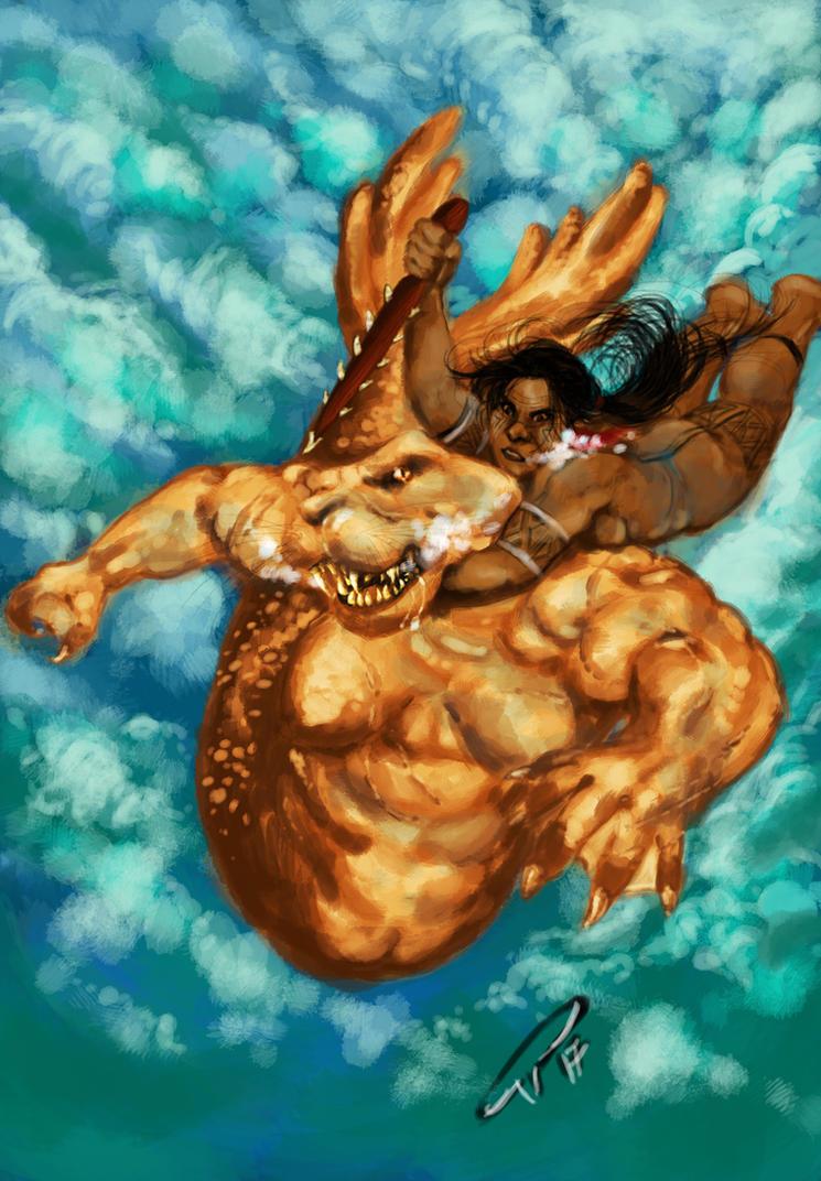 Uruara faces the Ipupiara monster by vmgoncalves