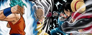 CROSSOVER - GOKU/LUFFY VS SAITAMA/DEKU