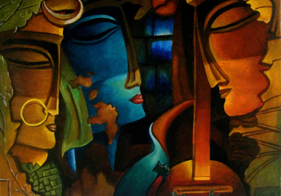Abstract Radhakrishna And Meera By Capricorn Kid