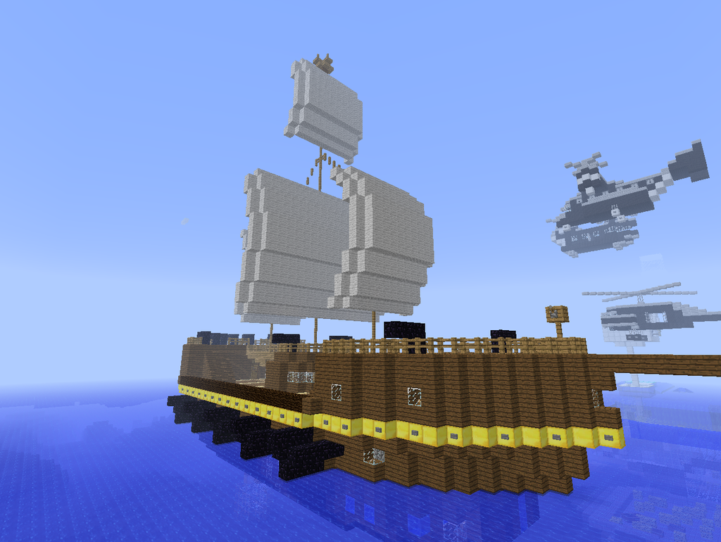 minecraft how to build a small pirate ship