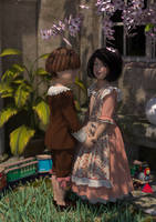 Vintage boy and girl by lun4ticboy
