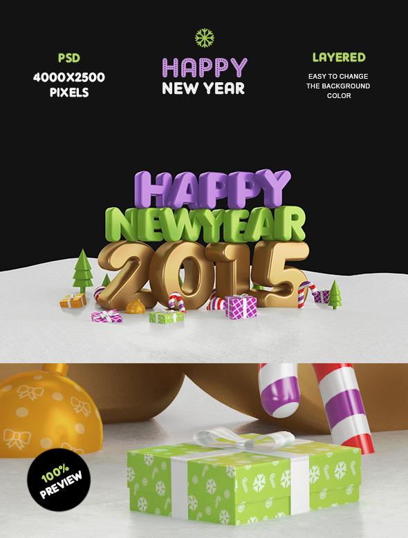 Happy New Year 2015 Gold by Bashkirev