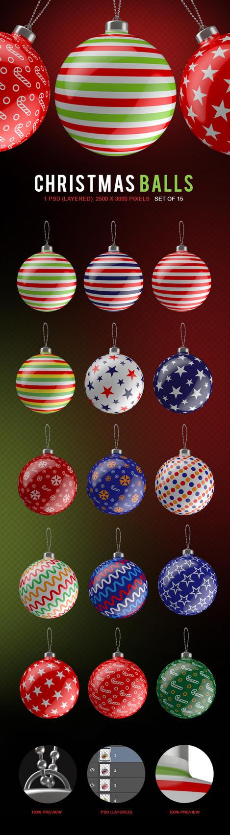 Christmas Balls set of 15 1psd (layered) 2500-3000 by Bashkirev