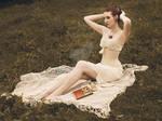 linen underbust corset by MorielCorsetry