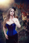 Blue overbust with black lace