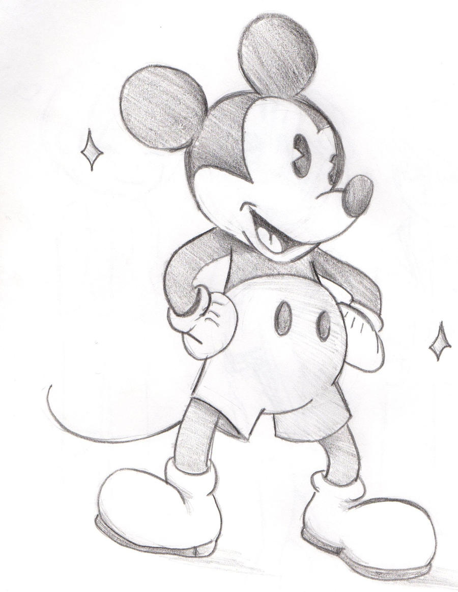 Sketch#Old Style Mickey Mouse by WhisperShipwrex on DeviantArt Mickey Mouse Love Drawings