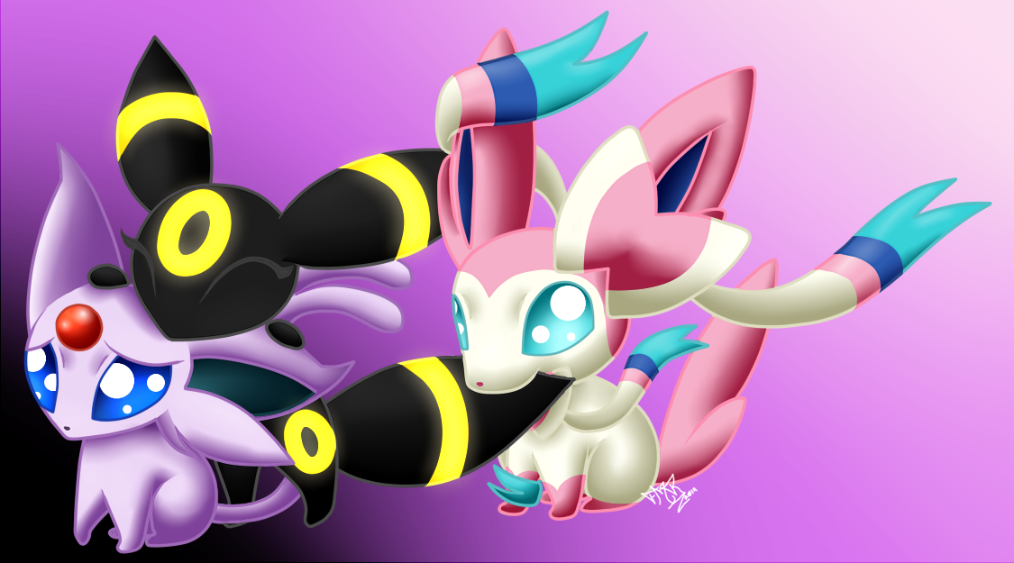 Chibi Eeveelutions 1-Espeon  Umbreon  and Sylveon by Yoko-UzumakiEspeon And Umbreon Chibi