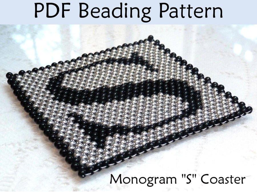 monogram peyote coaster pdf beading pattern by