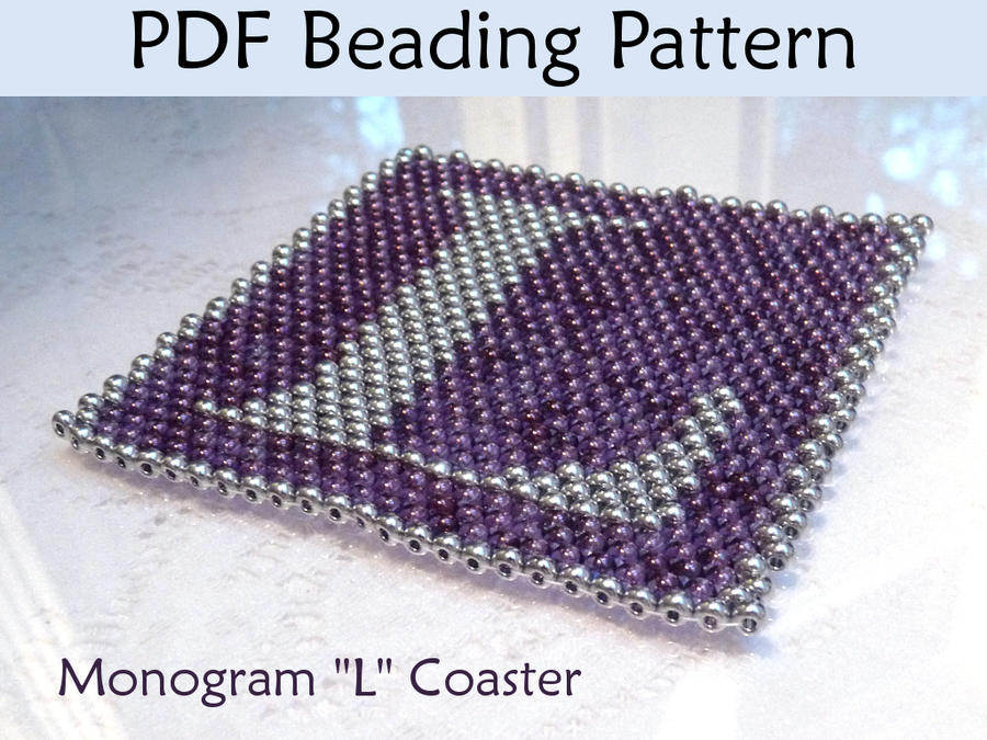 peyote monogram l coaster pdf beading pattern by