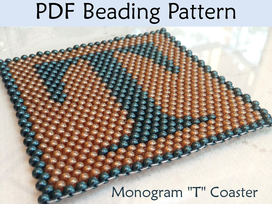 seed bead coaster monogram t beading pattern by