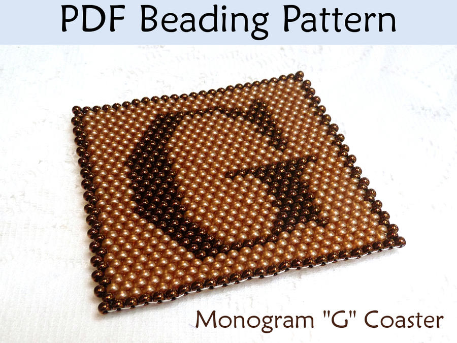 peyote beading pattern monogram g coaster by