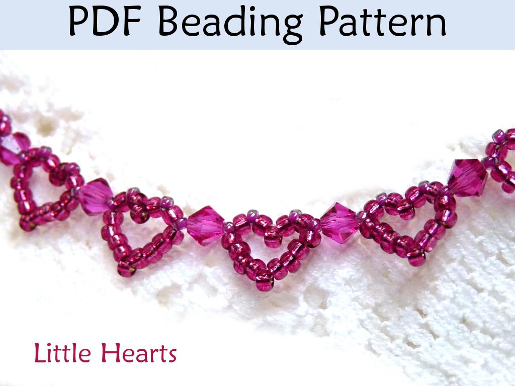 Little hearts beaded bracelet pdf beading pattern by for Simple beaded jewelry patterns