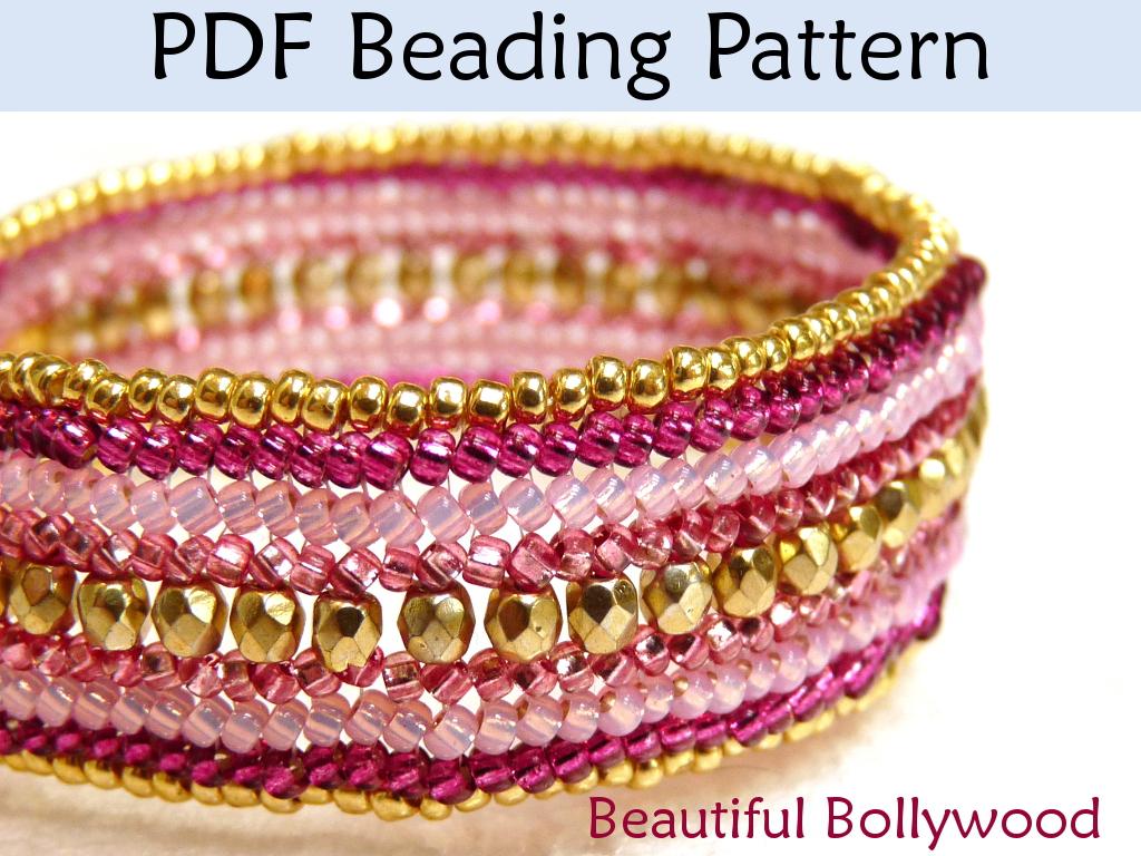 Beautiful bollywood herringbone bracelet beading p by for Simple beaded jewelry patterns