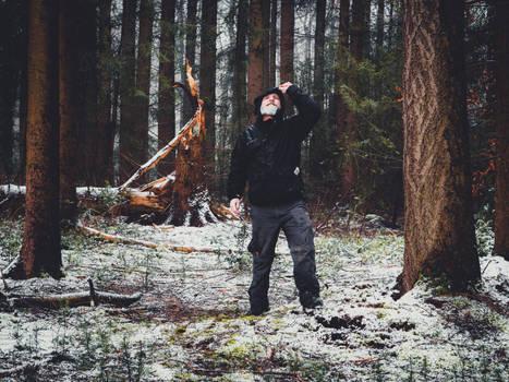 Morschenicher Wald. Schneeregen. Selbstausloeser.