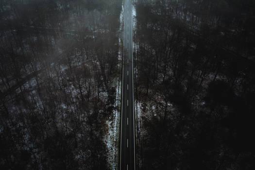 Morschenicher Wald. Schneeregen. Aerial Strasse