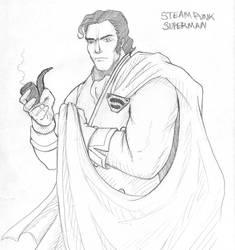 Steampunk Superman by doodoostew