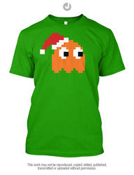 Chirstmas Retro Gaming - Pacman Ghost Clyde by Jay-Martin