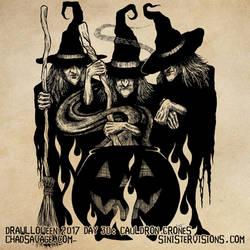 Drawlloween - Cauldron Crones by SavageSinister