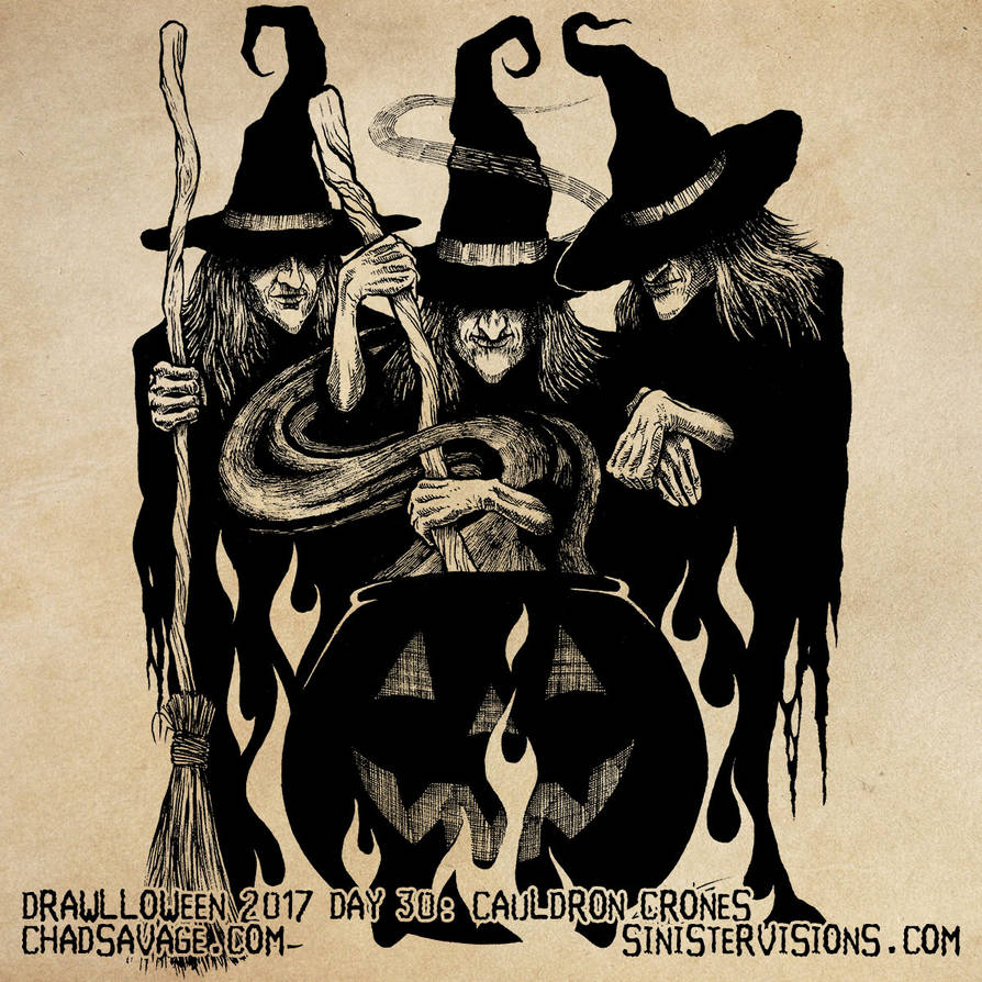 Drawlloween - Cauldron Crones by SavageSinister
