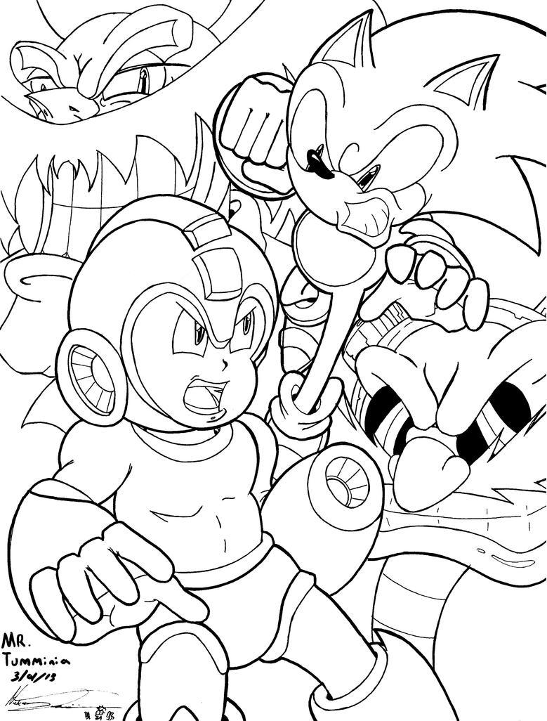 Crossover Sonic Vs Mega Man Round 1 (LINEART) by MrTumminia