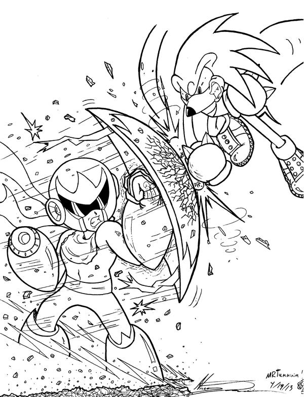 Crossover Proto Man Vs Knuckles Round 2 (LINEART) by MrTumminia