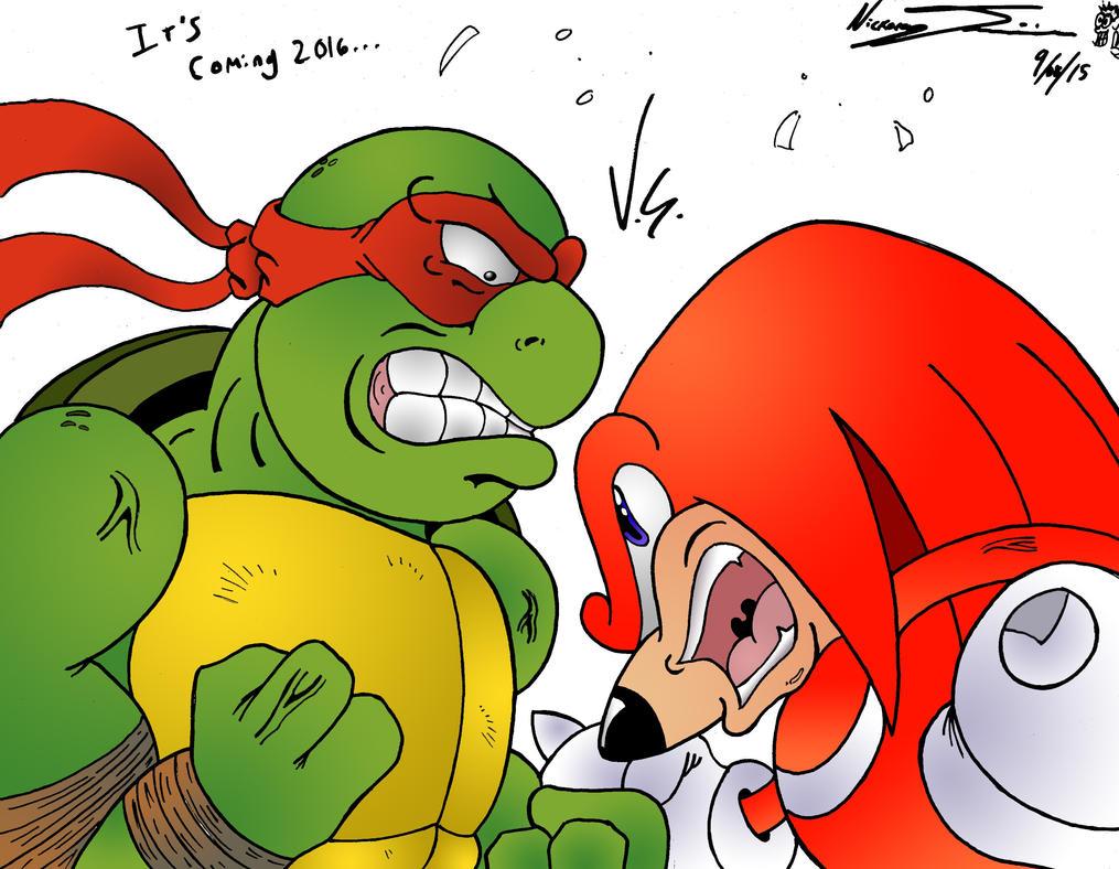 Knuckles V.S. Raphael by MrTumminia